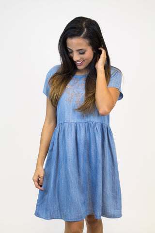 Chambray Detail Dress