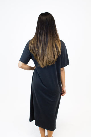 Black Slit Midi Dress