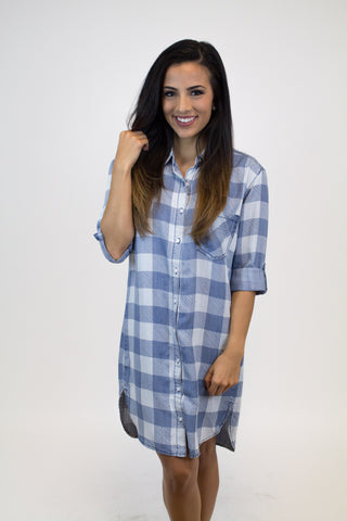 Plaid Denim Tencil  Dress