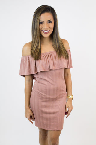 Blush Ribbed Off Shoulder Dress