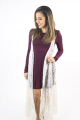Burgundy Knit Casual Dress