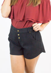 Black Suede Button Up Shorts