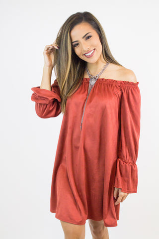 Rust Suede Off Shoulder Dress