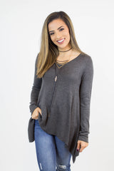 Grey Shark Bite Knit Top