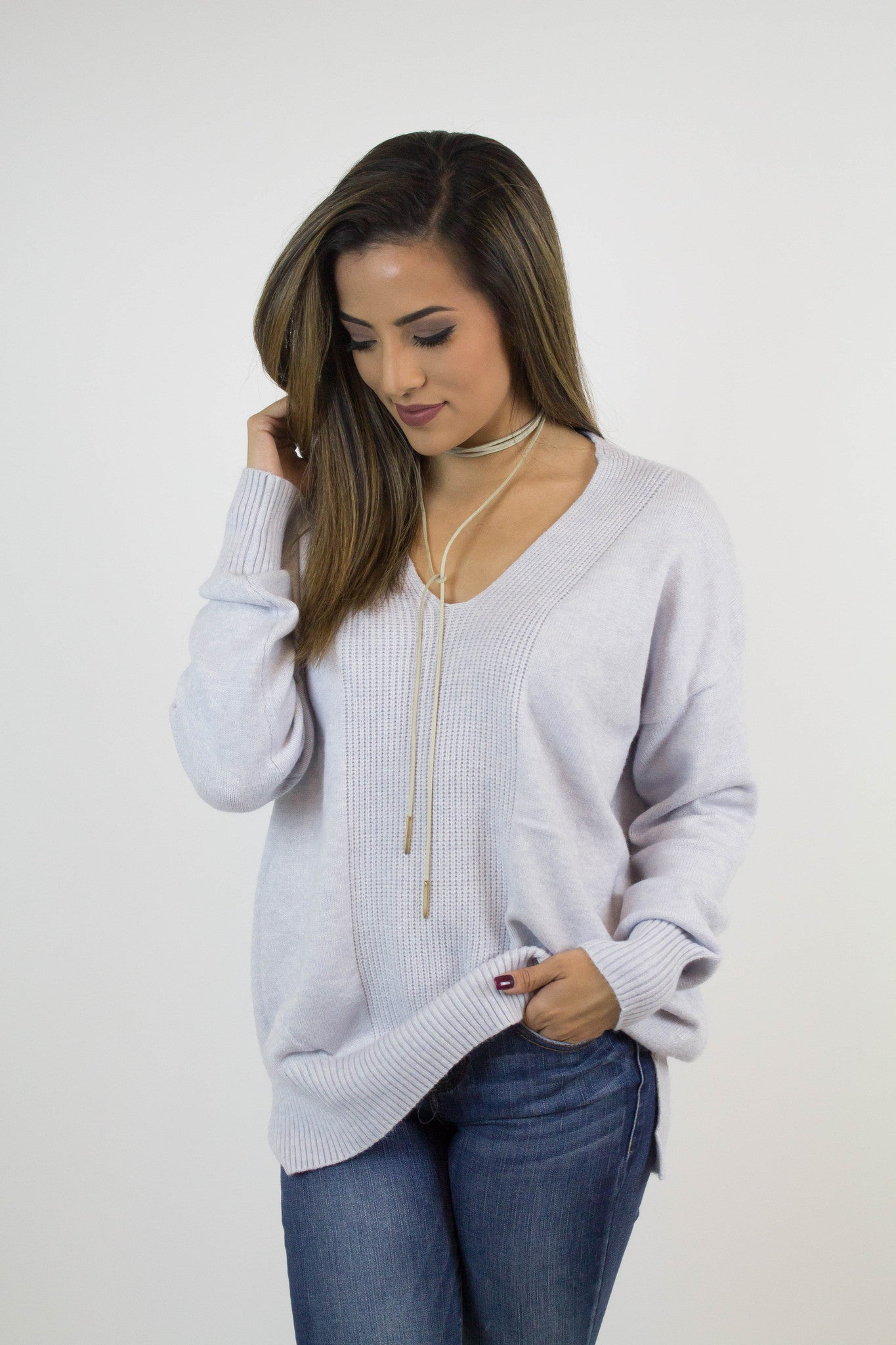 Heather Grey Knit Detail Sweater