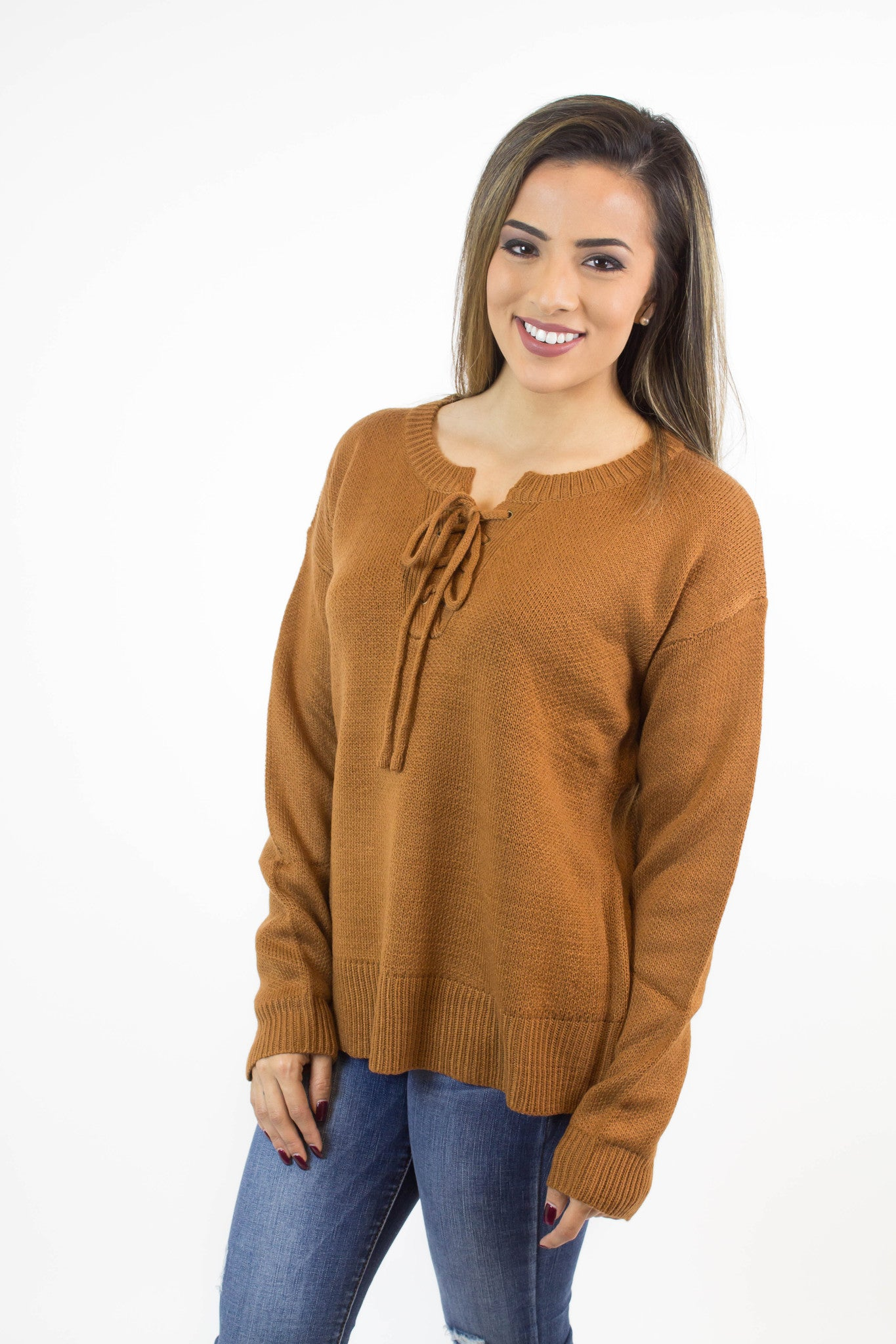 Camel Lace Up Pullover Sweater