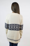 Cream + Navy Knit Cardigan