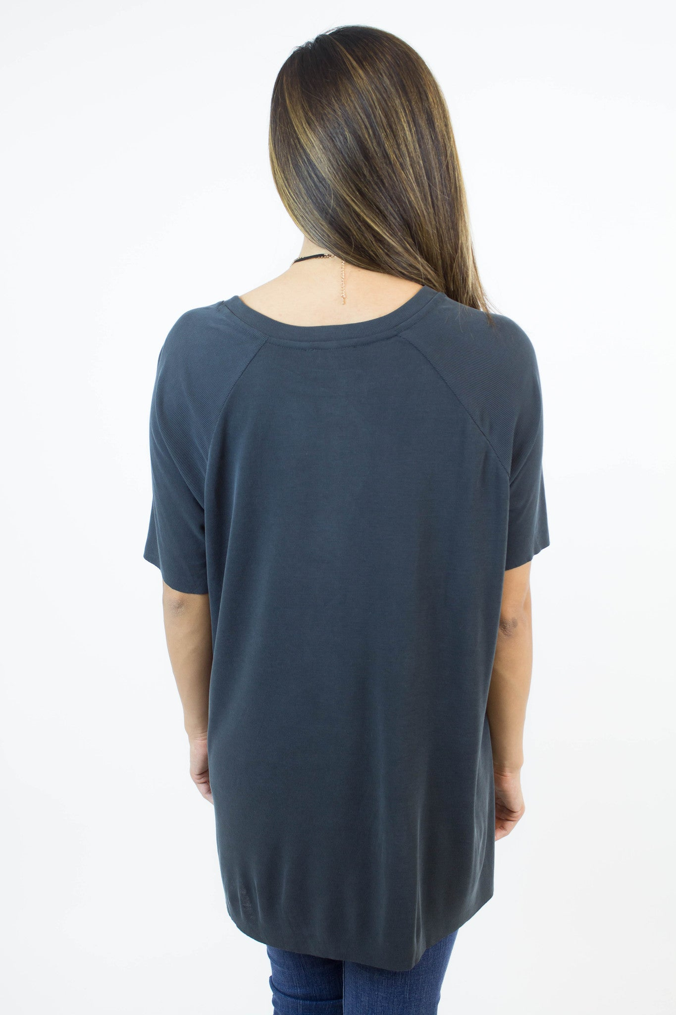 Charcoal Ribbed Top