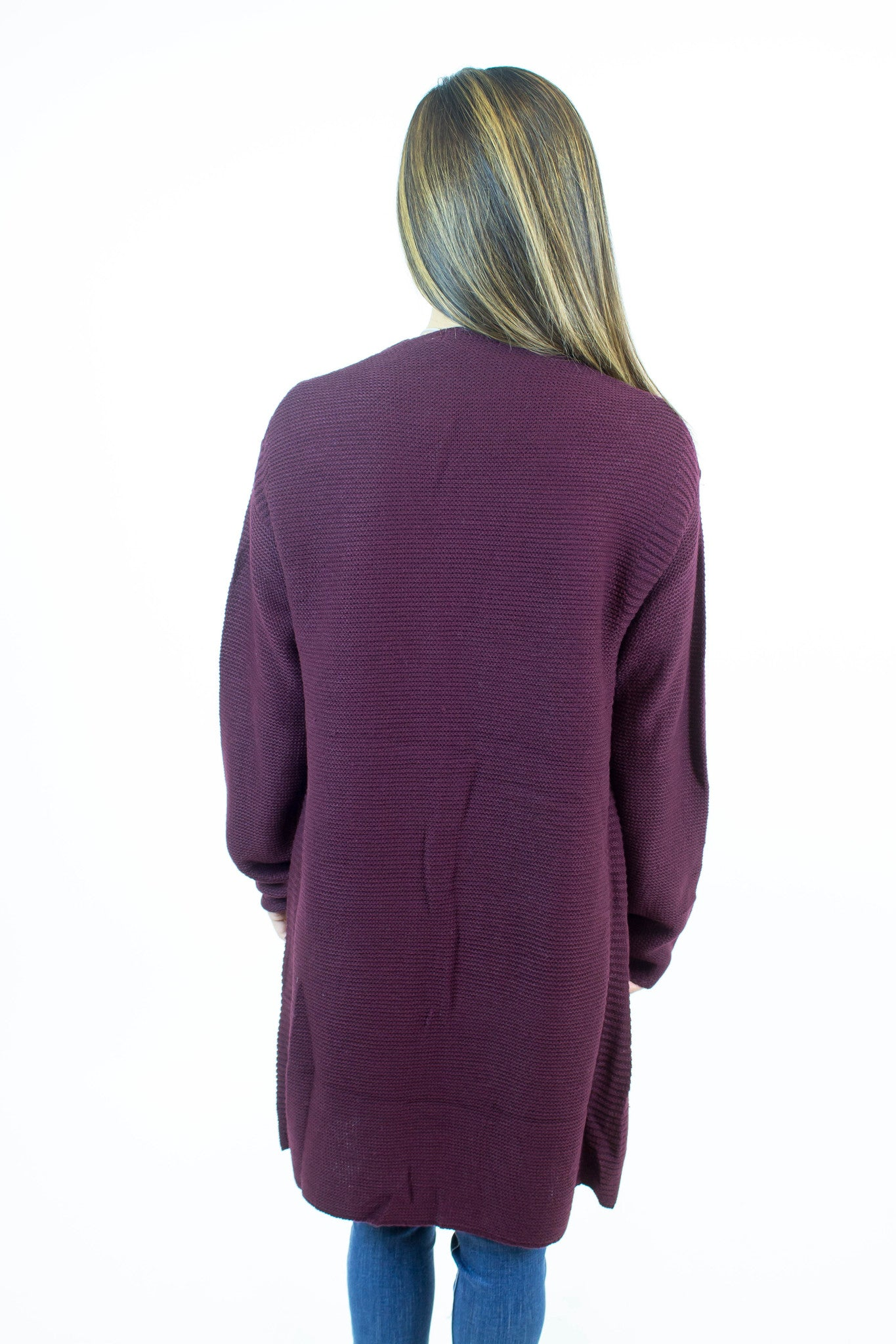 Wine Long Knit Cardigan