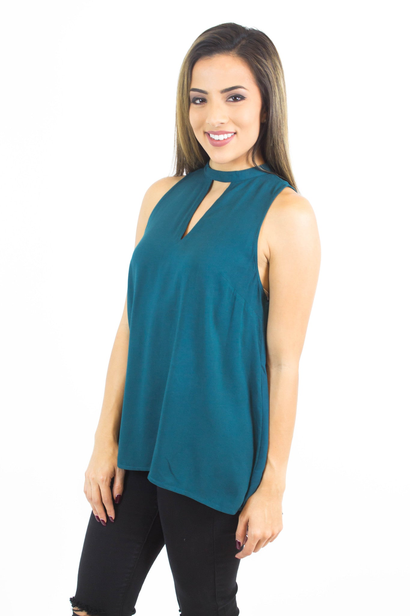 Hunter Green Keyhole Top