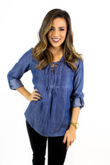 Dark Blue Tencel Lace Up Top