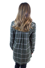 Olive V-Neck Plaid Top