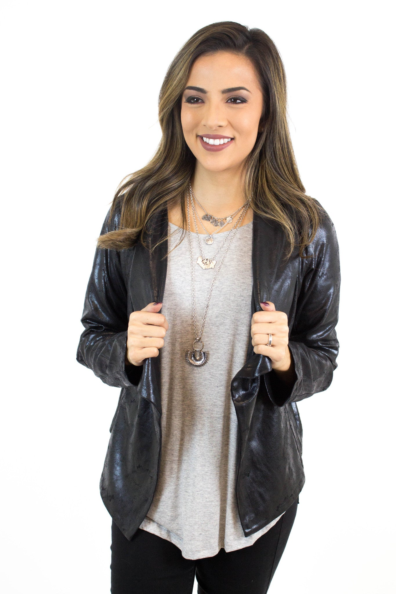 Black Distressed Faux Leather Jacket