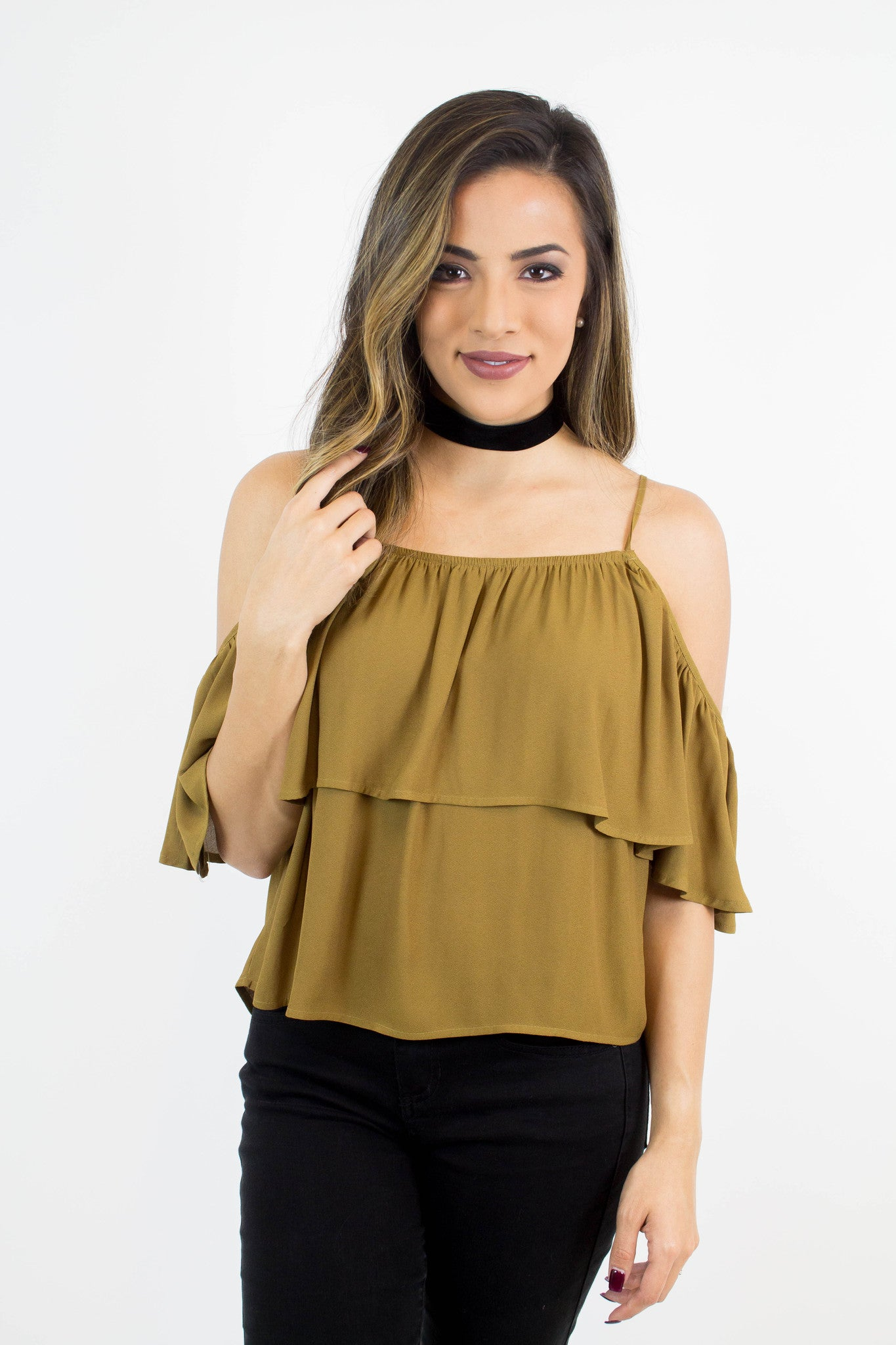 Yellow Green Cold Shoulder Top