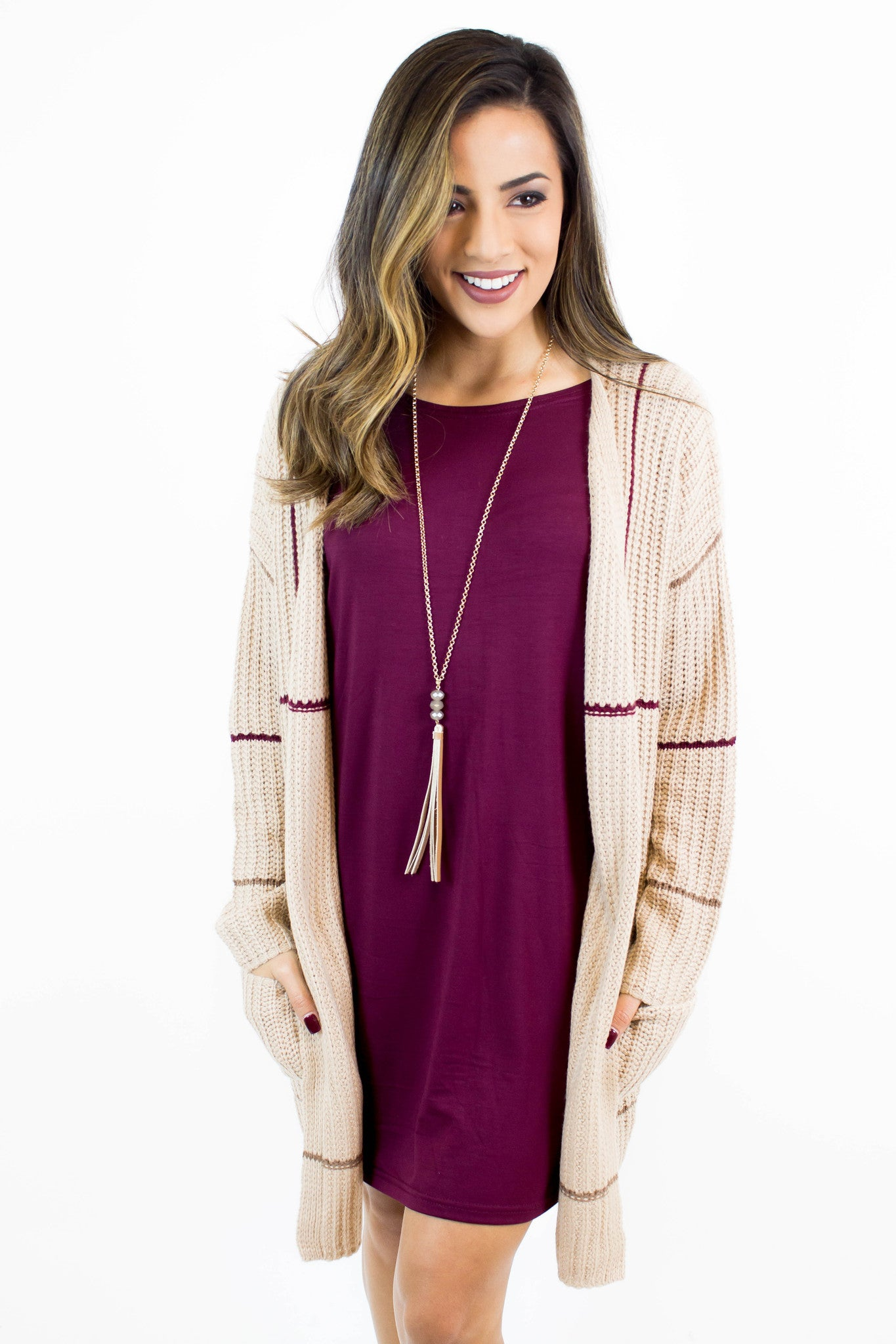 Taupe + Wine Knit Long Cardigan