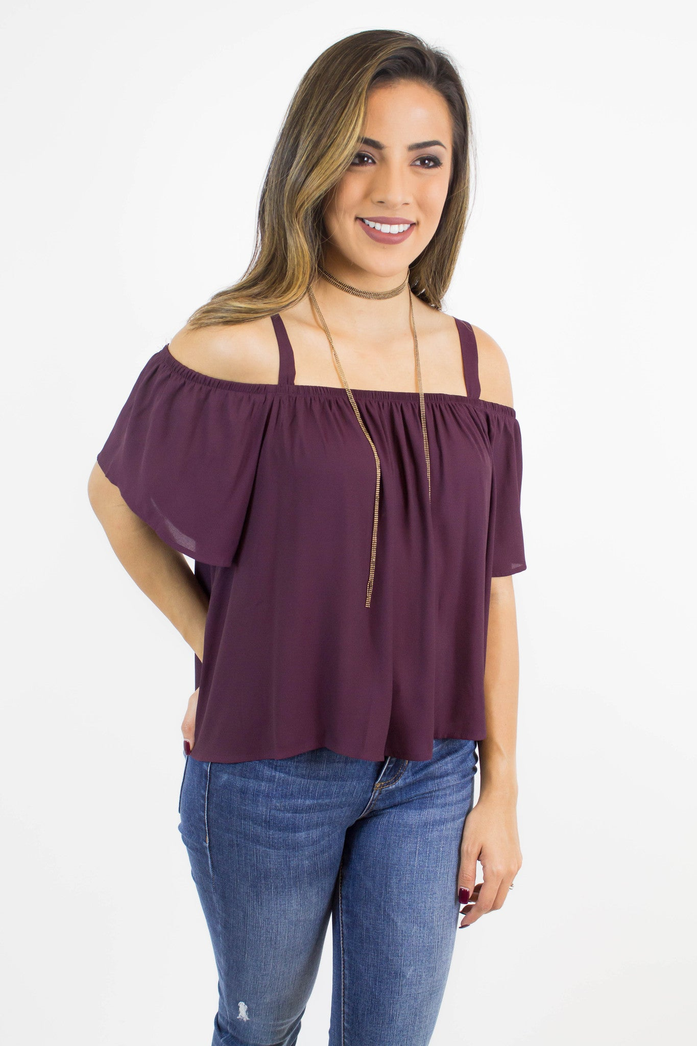 Wine Cold Shoulder Top