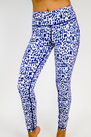 Navy Spotted Print Active Pants