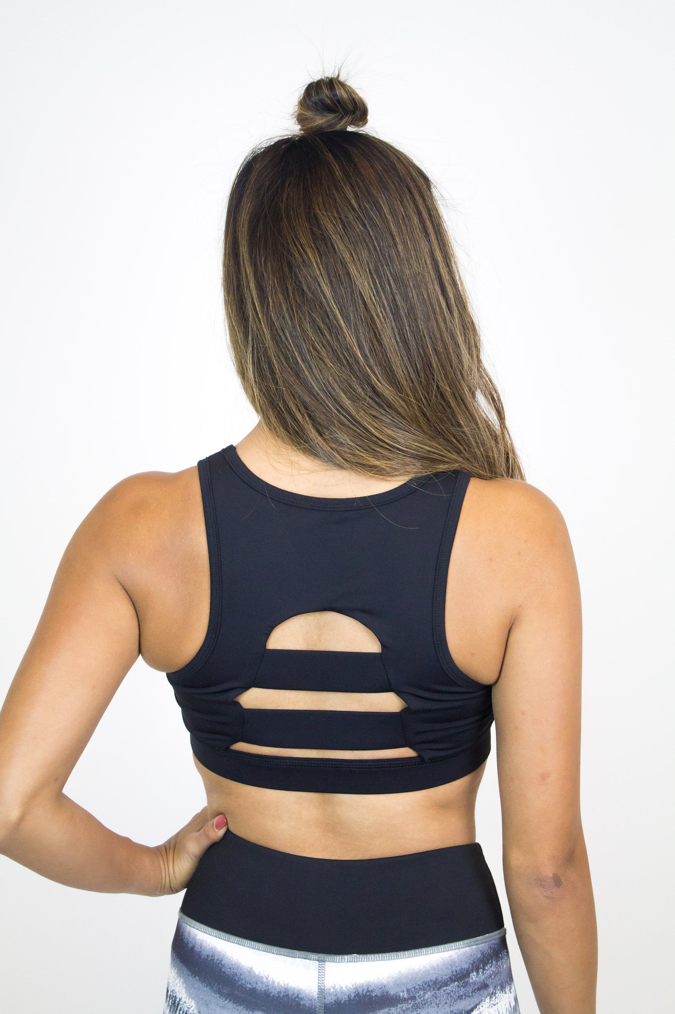 Black Back Cut-Out Sports Bra