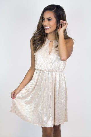 Gold Shimmer Pleated Dress