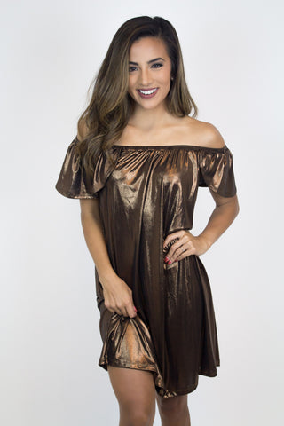 Copper Shimmer Off-Shoulder Dress