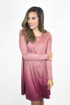 Mauve Ombre Ribbed Dress