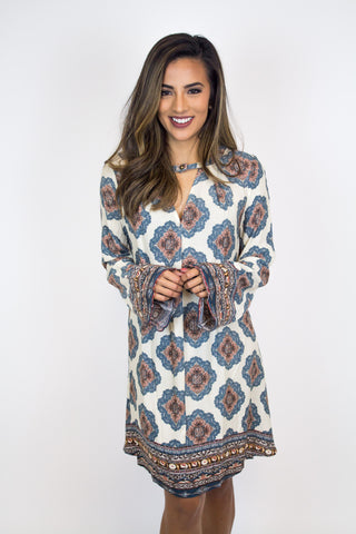 Taupe Print Dress