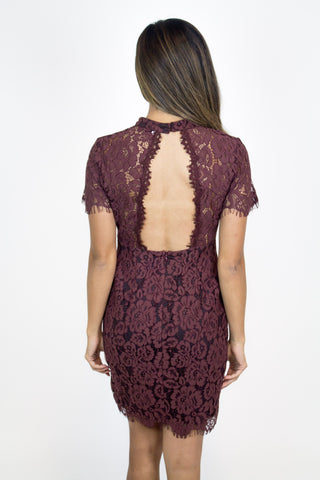 Burgundy Lace Fitted Dress