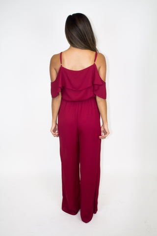 Red Cold Shoulder Jumpsuit