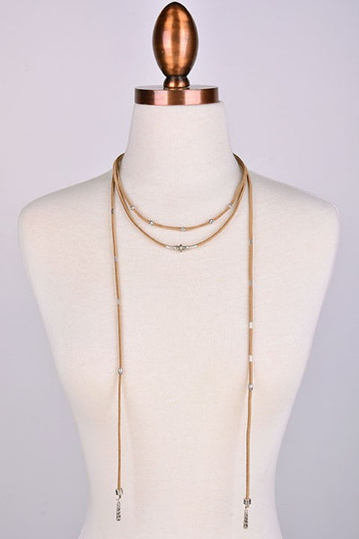 Brown Silver Detail Wrap Choker