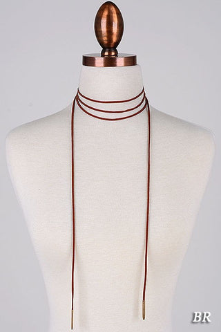 Wrap Suede Choker - Brown