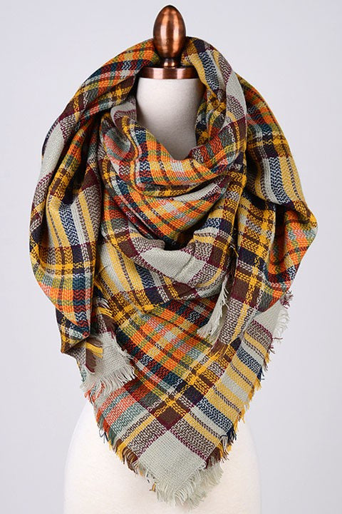 Blanket Scarf - Orange + Brown