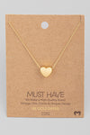 Brushed Heart Pendant Necklace - Gold