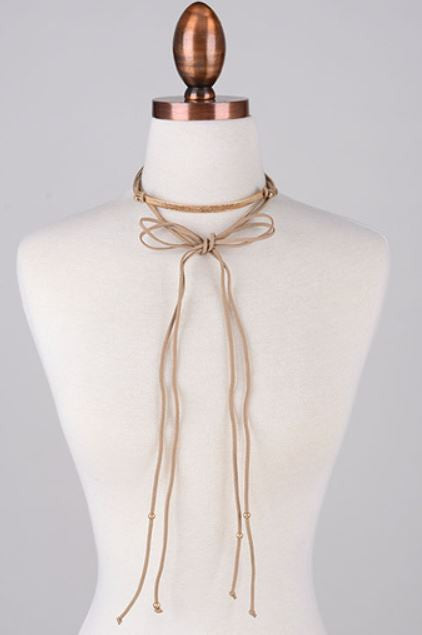 Gold Plate Suede Choker - Taupe