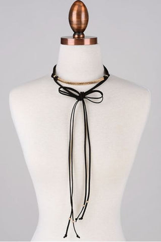 Gold Plate Suede Choker - Black