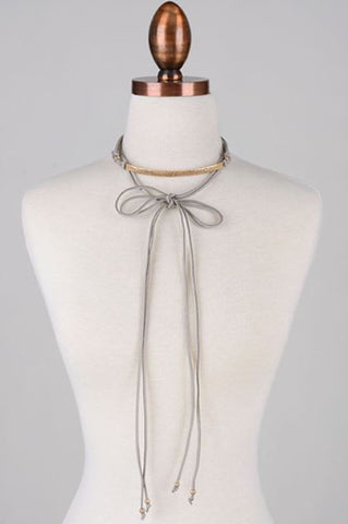 Gold Plate Suede Choker - Grey