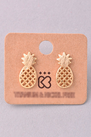 Pineapple Earrings - Gold