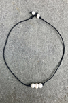 Three Pearl Choker Necklace - Black