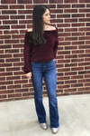Chenille Off Shoulder Top - Burgundy