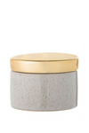 Taupe Stoneware Box w/ Gold Lid