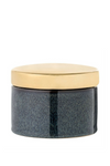 Blue Stoneware Box w/ Gold Lid