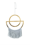 Gold Metal Wall Decor W/Grey Fringe