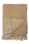 Knit Throw w/ Fringe - Mustard Yellow