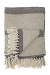 Knit Throw w/ Fringe - Grey