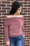 Chenille Off Shoulder Top - Mauve