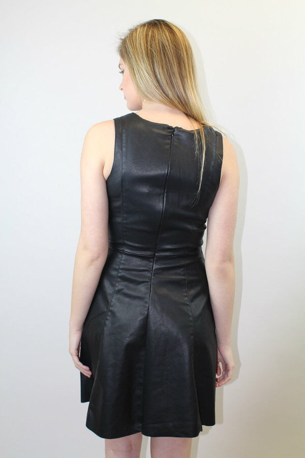 Black Sleeveless Faux Leather Dress