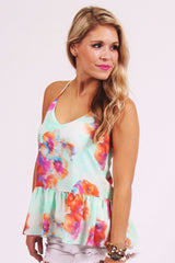Lily Watercolor Peplum Top