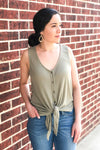 Olive Ribbed Tie Top