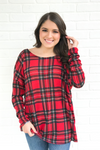 Back Twist Plaid Top - Red