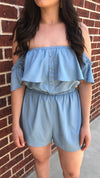 Blue Button Up Ruffle Romper