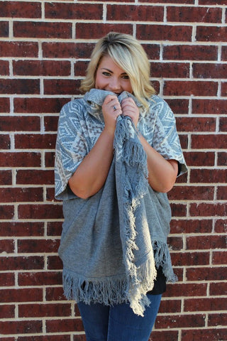 Grey Tribal Knit Cardigan - Plus